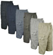 S11 Mens 3/4 Elasticated Waist  Long Zip off  Shorts Cargo Combat 8 Pockets
