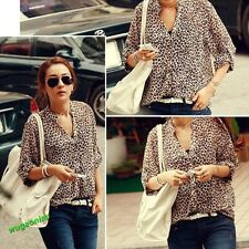 Hot Lady's Chiffon Sexy Leopard Print Summer Shirt Top Button Down Blouse M,L,XL