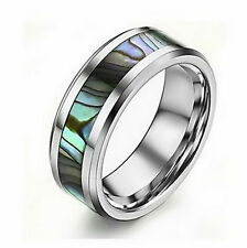 Tungsten Mother Of Pearl Men's Wedding Band Man Ring Never Tarnish All Size M14