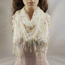 Fashion Sexy Lace Stripe Crochet Triangle Mantilla Scarf Shawl Wrap Lace Tassel