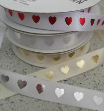 2m x 15mm wide satin ribbon with heart print white/silver, ivory/gold white/red