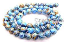"SALE 8mm Blue peacock zebra stripe Round agate beads strands 15"" -los626"