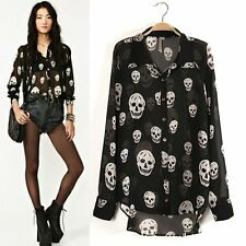 Womens Chiffon See-through Button Down Shirt Skull Print Irregular Blouse Tops
