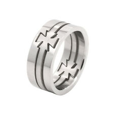Maltese Cross Stainless Steel Puzzle Ring Sizes 6 - 12