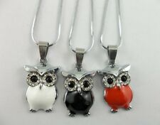 1pcs Stainless steel crystal enamel owl charms necklace pendant 28x17mm