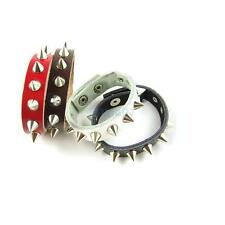 Unisex Punk Rock Metal Spike Rivets Studded Snap Leather Bracelet Wristband Cuff