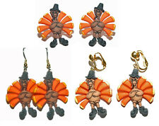 THANKSGIVING TURKEY STUD CLIP ON PIERCED OR CLIP ON DANGLE EARRINGS-4 CHOICES