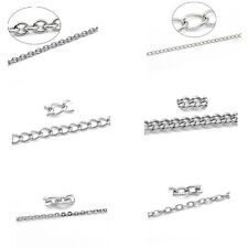 10M New Stainlesss Steel Link-Opened Curb Chains Findings Silver Tone M1143