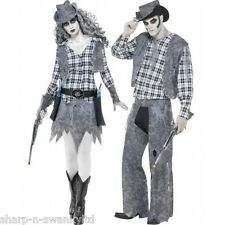 Couples Ghost Town Dead Cowboy & Cowgirl Halloween Fancy Dress Costumes Outfits