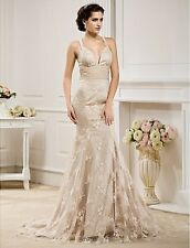 New Spaghetti Strap Wedding Dresses Gorgeous Bridal Gowns Custom/Standard Size
