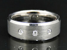 Mens Shiny Titanium Faceted Wedding Engagement Band Ring 8 mm