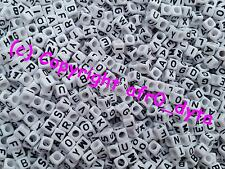 100 to 1000 White Alphabet Mixed Letters Cube Beads 6mm