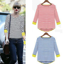 Womens Long Sleeve Striped Irregular Hem Casual Blouse Top T-shirt Fashion