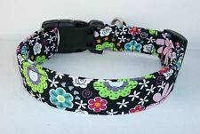 Black Pink Lime Floral Dog Collar custom made adjustable Designer Fabric & charm