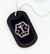 Black Medical ID Dog Tag Necklace-Diabetes-Coumadin- Custom Engrave