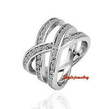 18k White Gold Filled Clear Swarovski Crystal Women's Silver Nest Wrap Ring R204