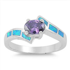 Silver Ring w/ Lab Opal with Amethyst CZ Product Code: RO150374