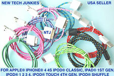 Woven Fabric Braided USB data Sync Charger Cable Cord adapter for iphone 4 4S