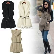 Women Faux Fur Vest Sleeveless Coat Outerwear Long Jacket Waistcoat Outwear Top