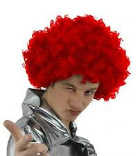 6 X RED CURLY AFRO WIG CIRCUS CLOWN UNISEX FANCY DRESS 60S 70S COSTUME ACCESSORY