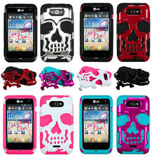 MetroPCS LG Motion 4G MS770 SKULL Hybrid Dual Layer Phone Case Cover Accessory