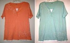 CC HUGHES Layered Look Embroidered Knit Stretch Casual Blouse Tunic Shirt Top M