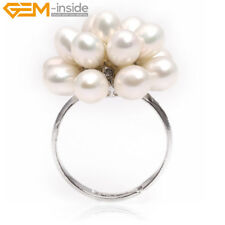 Pretty 5-6mm Freshwater Pearl White Gold Plated Ring Adjustable Size,Color Pick