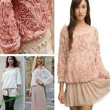 Womens Lace Rose Floral 3D Mesh Lace Rose Floral Long Sleeve Jumper Top Sweater