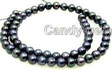 """SALE 6-7mm Natural High quality Black Freshwater Pearl Loose Beads 14""""-los44"""