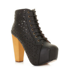 WOMENS BLOCK HEEL FLOWER LASER CUT OUT LACE UP PLATFORM ANKLE BOOTS  SIZE 3-8