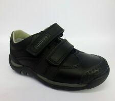 Clarks Boys Infants Gravel Mover Black Leather Velcro Casual School Shoes Fit G