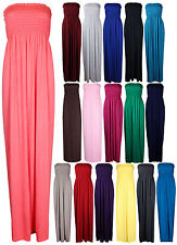 New Womens Long Strapless Elasticated Shearing Ladies Bandeau Shirred Maxi Dress