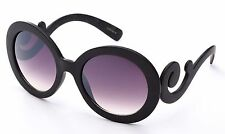 2 Pack Wood Finish Texture Baroque Swirl Design Women Sunglasses Round Lens