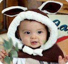 Lovely Kids Colorful Hat with Rabbit Ear Warmer Knit Cape Coat with a Bowknot