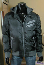 GUESS Gabe Black Grey Hooded Logo Puffer Jacket NWT