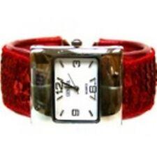 Women's Cuff Fashion Watch by Geneva Rectangle Face Silver Tone Red Sequins