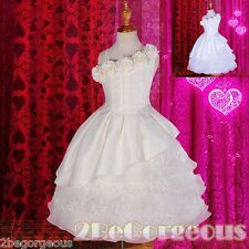 Lace Tiered Satin Dress Wedding Flower Girl Bridesmaid Communion Age 2y-10y #260