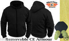 NEW MOTORCYCLE PROTECTIVE ARMOURED REINFORCED FIBRE LINED BLACK HOODIE 6XLARGE