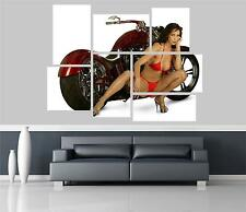 Hot Rod & Hot Babe Motorbike Self Adhesive Wall Picture Poster Not Canvas