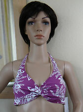 COCO REEF plum purple/white floral leaf halter bra/swim top,32/34 or 36/38 C cup