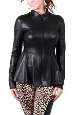 PLUS SIZE MATTE BLACK FAUX PU LEATHER ZIP-UP FITTED PEPLUM FASHION JACKET TOP