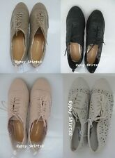 New Primark Lace Up Brogue Shoes Loafers Jazz Style Faux Leather Flat UK 3-8