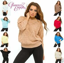 Ladies Knit Braided Sweater Top Jumper 3/4 Sleeve One Size UK 8/10/12     721