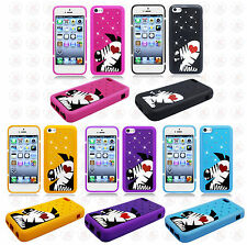 Apple iPhone 5C Rubber SILICONE Skin Soft Case Phone Cover Bling Zebra Accessory
