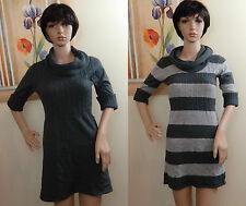NWOT TAKE OUT cowl neck short button sleeve gray or stripe sweater dress,JR L,M