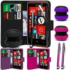 PU Leather Wallet Case Cover, Film, Pen & Speaker for Nokia Lumia 720