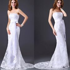 White Strapless Satin Lace Wedding Dress Bridemaid Gown Sz 6-8-10-12-14-16 IN US