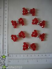 6 Bead Bows - Red Bows - Gift Wrapping, Cards, Crafts, Scrapbooking - Red/Mixed