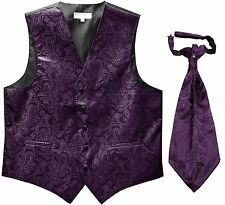 New Men's Paisley Tuxedo Vest Waistcoat & Ascot Cravat Wedding Prom Dark Purple