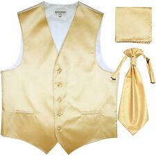 New Men's Horizontal Stripes Tuxedo Vest Waistcoat & Ascot & Hankie Set Ivory